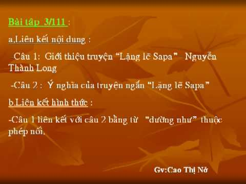 Ngu van 9:ON TAP TIENG VIET(tuan 28).Gv:Cao Thi No