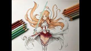 Speed Drawing - Yuuki Asuna (Sword Art Online) [HD]