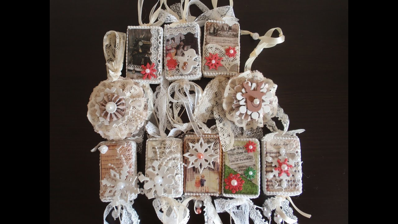 Christmas ornaments with vintage images so shabby chic for Objet deco shabby