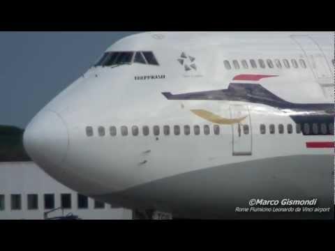 BOEING 747-400 INCREDIBLE ENGINE SOUND   Rome Fiumicino Leonardo da Vinci