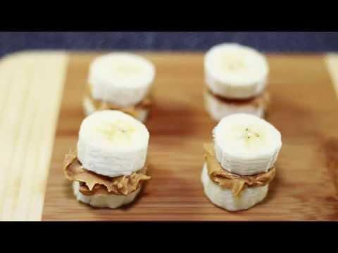 กล้วยหอมเนยถั่ว (เมนูอาหารว่างที่ทำง่ายและรวดเร็วและมีประโยชน์) - Peanut Butter Banana Bites