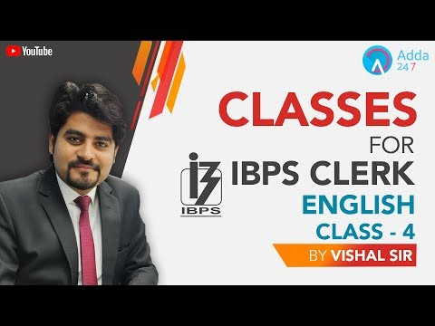 Classes For IBPS Clerk | English | Class - 4 | Vishal sir | 4 PM