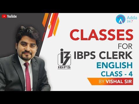 Classes For IBPS Clerk | English | Class - 4 | Vishal sir | 4 PM