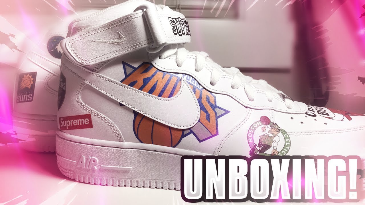 0b3c7f28c0 SUPREME NBA AIR FORCE 1 MID WHITE SHOE UNBOXING! CLEANEST SUPREME SHOES  EVER?? RARE LIMITED EDITION!