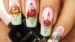 Gradient Spring Floral Nail Art Tutorial!BornPretty Spring Garden L003 Stamping Plate Review & D