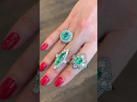 Two Paraiba Rings and One Emerald Ring, IVY