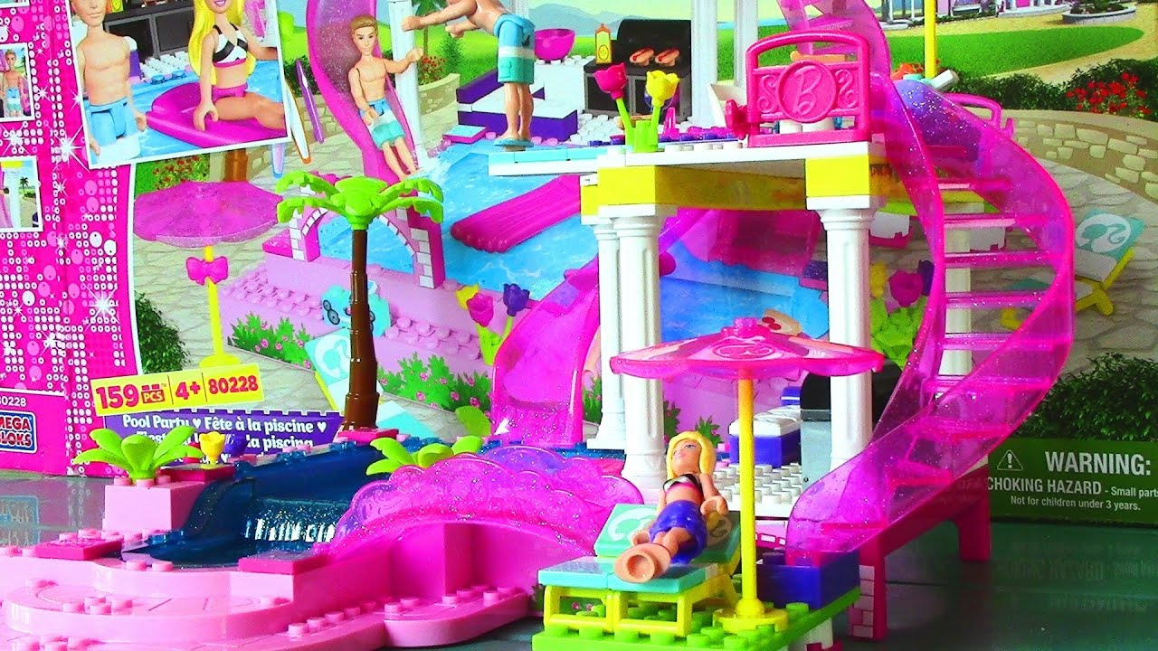 Mega bloks barbie pool party with barbie doll and ken doll life in a dream house viyoutube for Barbie doll house with swimming pool