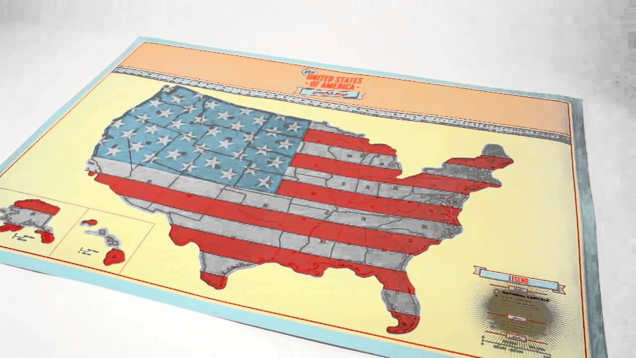 Scratch Map USA Edition from Luckies YouTube – Luckies Of London Scratch Map Travel Edition