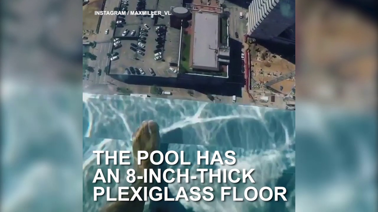 This Glass Bottom Pool Hangs Stories Above The Streets YouTube - This pool lets you swim over the edge of a 42 storey building