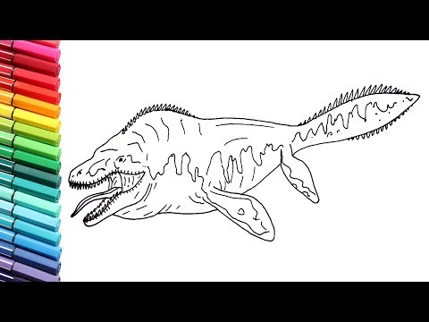 How To Draw The Tylosaur Sea Dinosaur - Dinosaurs Color Pages For Kid - Drawing Sea Monster