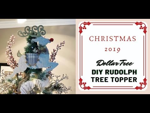 Elegant DIY Christmas Rudolph Farmhouse Glam Tree Topper How-to - Dollar Tree