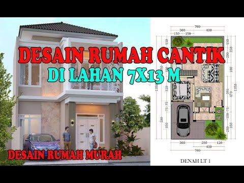 desain rumah minimalis modern di lahan 7x13 meter - youtube