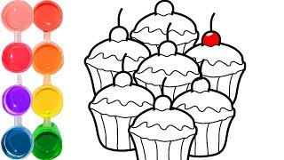 How to draw & color a candy cupcakes dessert   family art cartooning   step by step drawing tutorial