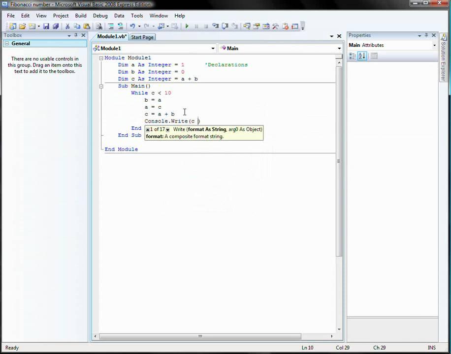 Tutorial 1 - Visual basic 2008 - Console Application