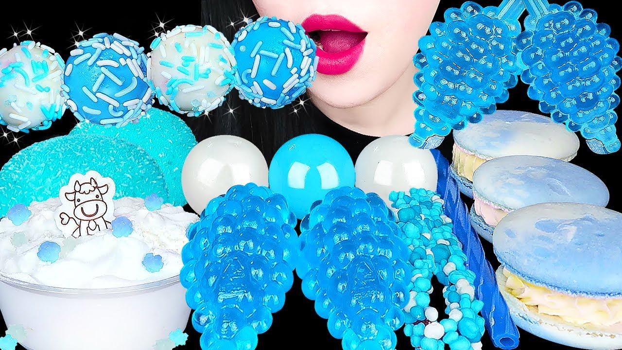 ASMR BLUE WHITE DESSERTS *파란색 포도젤리, 스노볼, 구름 마카롱, 순우유 케이크 SNOBALLS, MILK CAKE, GUMMY EATING SOUNDS 먹방