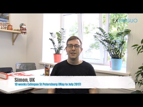 Simon, UK, talking about his learning experience at Exlinguo St Petersburg language school