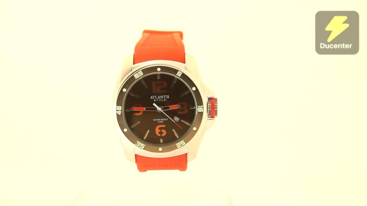 cac3f090866 Relógio Atlantis G 3216 vermelho pulseira de borracha - YouTube