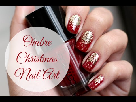 Red Ombre Nails Christmas.Ombre Christmas Nail Art