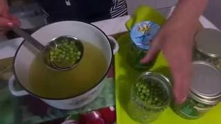 Заготовка консервированного зеленого горошка в домашних условиях без стерилизации за 6 минут .