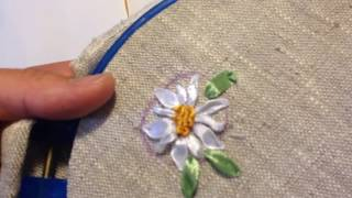 Ромашка вышитая лентами / Chamomile embroidered with ribbons