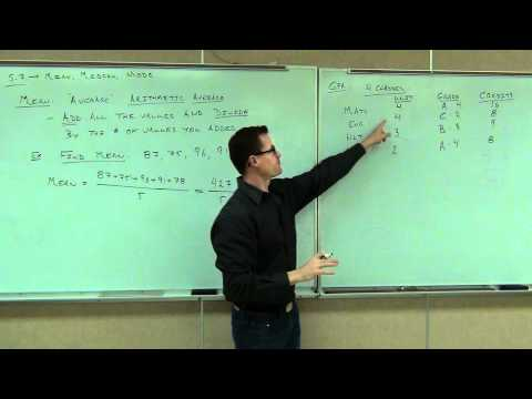 Prealgebra Lecture 5.7: Finding Averages:  The Mean, Median, and Mode