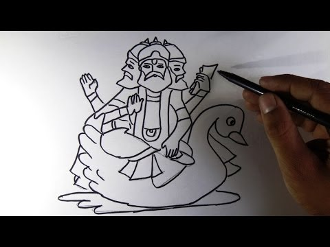 How To Draw Brahma Hindu God Youtube