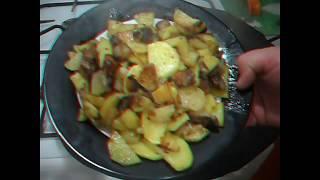 Сковорода из диска бороны. Готовим картошку с салом . Петрович на кухне.Всем приятного аппетита.