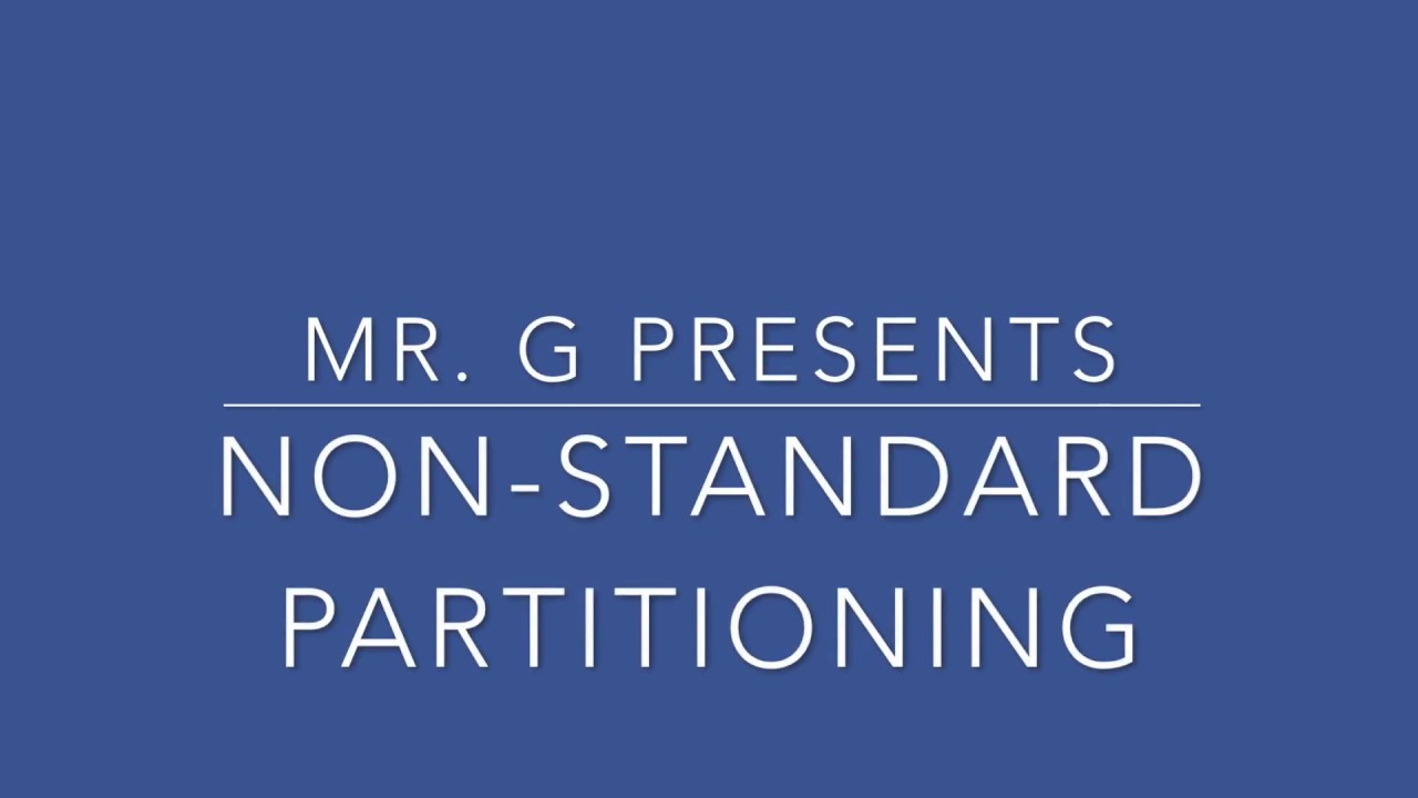 Non Standard Partitioning - YouTube