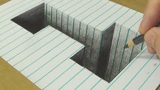 How to Draw Number One Hole - Drawing Hole Illusion in line Paper with Pencil