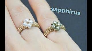 【簡単レシピ】3mmパールと特小ビーズで編むリングの作り方✨ビーズステッチ初級 How to make a ring using 3mm pearls and 15/0 seed beads.