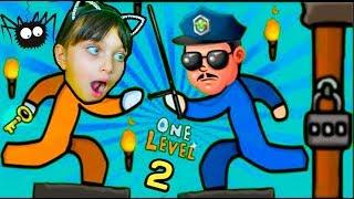 Как СБЕЖАТЬ ИЗ ТЮРЬМЫ Стикман в игре One LEVEL 2 Побег Стикмана! Детский ЛеТсплей от Папы Валеришка