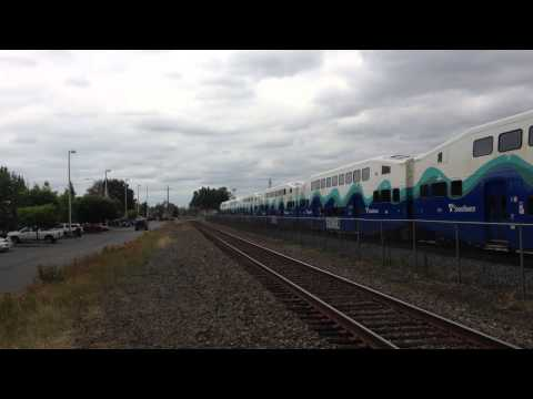Sounder Commuter Rail trains arrive at Kent Station