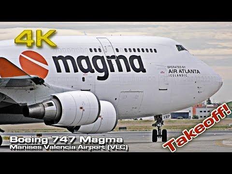 Magma Boeing 747 Cargo [4K 50p] Air AtlantaTakeoff Valencia! ( TF-AMP)