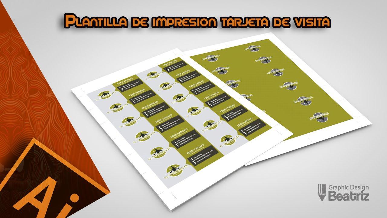 Plantilla de Impresion para tarjetas de visita con marcadores de recorte en Ilustrator