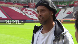 Russia: Ronaldinho tests out the turf at Kazan Arena ahead of 2018 FIFA World Cup