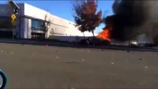 Paul walker Car accident. Car burning