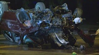 Car ripped apart in fiery Cleveland crash