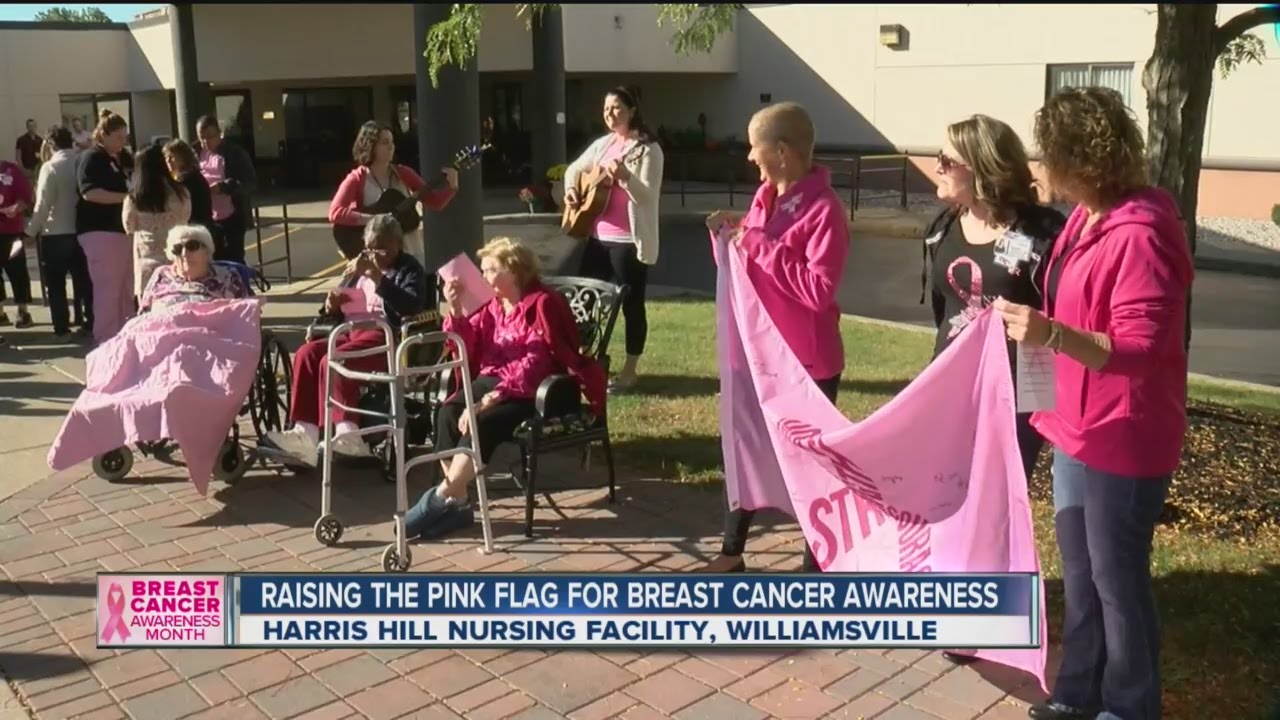 Pink flag flies for Breast Cancer Awareness