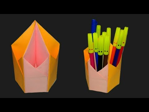 DIY Pen & Pencil Holder | Paper pen stand. Origami pen stand || SUNIL CREATION