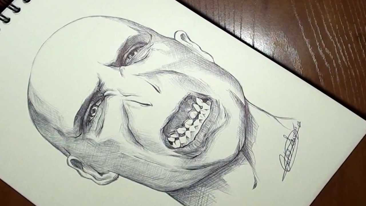 Cmo dibujar a Voldemort en 3 minutos timelapse How to draw
