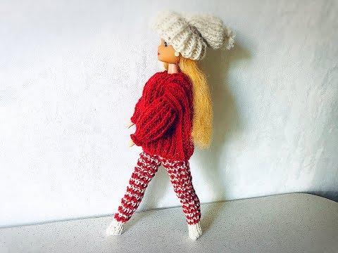Свяжем гетры или удлиненные носки для Барби.