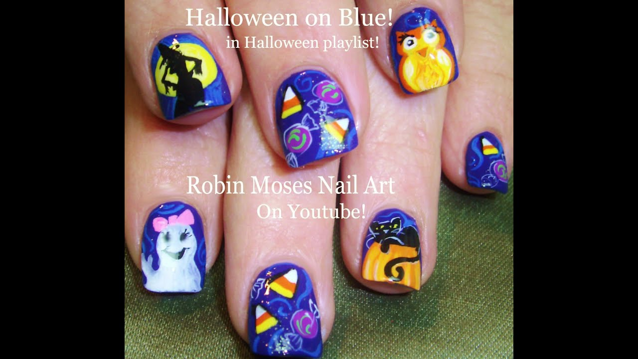 Halloween Nail Art: Halloween Candy Corn Nail Art With Witches Ghosts And Cats