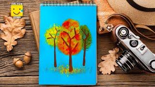 Осенний лес. Урок рисования для детей от 2 до 5 лет.
