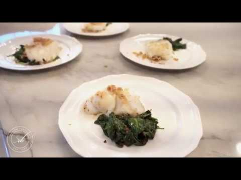 Almond Crusted Cod & Garlic Spinach