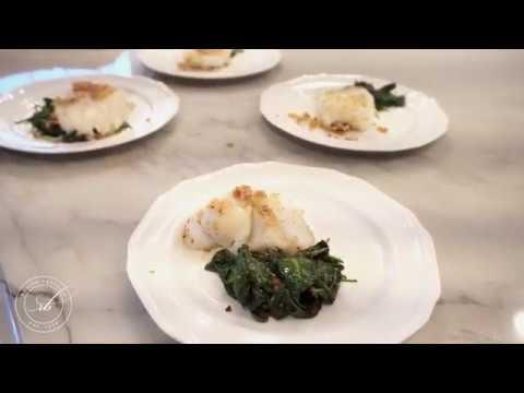 Almond Crusted Cod & Garlic Spinach