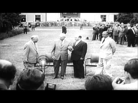 Eisenhower, Anthony Eden, Nikita Khrushchev and Nikolai Bulganin arrive at Geneva...HD Stock Footage
