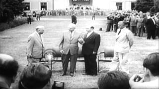 Eisenhower, Anthony Eden, Nikita Khrushchev and Nikolai Bulganin arrive at Geneva...HD Stock Footage