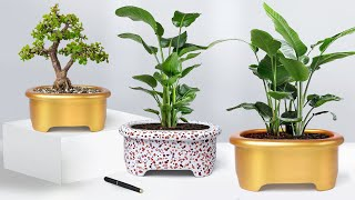 Easy cement pottery making || Cement flower vase - Cement planter Making