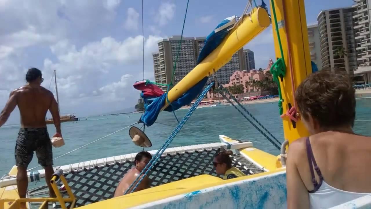 Honolulu Hi Catamaran Sailing Off Waikiki Beach You