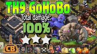 3 STAR GROUND ATTACK! - TH9 GoHoBo War Strategy!- Clash of Clans - How to 3 star in War!